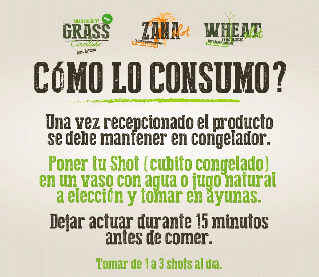 Instrucciones como tomar wheatgrass